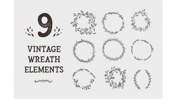 دانلود وکتور عناصر طراحی گرافیکی Vintage Wreath Graphic Design Elements