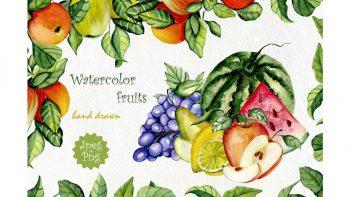 دانلود پترن آبرنگی میوه Watercolor fruits