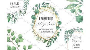 دانلود فریم هندسی با طرح آبرنگی Watercolor Geometric Foliage Frames