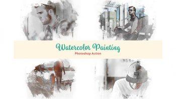 دانلود اکشن فتوشاپ تبدیل عکس به نقاشی Watercolor Painting Photoshop Action