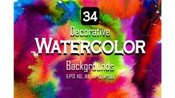 دانلود وکتور بک گراند آبرنگی Watercolor vector set background