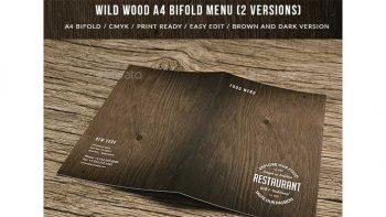 دانلود فایل لایه باز دو لت منو غذا با بافت چوب Wild Wood A4 Bifold Menu – 2 Versions