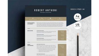 دانلود قالب آماده ورد رزومه Word Resume Temlate | 4 Pages Pack