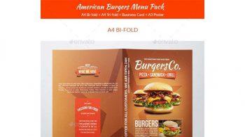 دانلود فایل لایه باز منو فست فود American Burgers Food Menu Pack