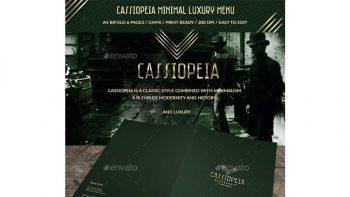 دانلود فایل لایه باز منو غذا با طرح مینیمال و لاکچری Cassiopeia Minimal Luxury Menu