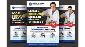 دانلود فایل لایه باز تراکت تعمیر موبایل و کامپیوتر Computer & Mobile Repair Flyer