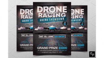 دانلود فایل لایه باز آگهی مسابقات هواپیمای بدون سرنشین Drone Racing Flyer