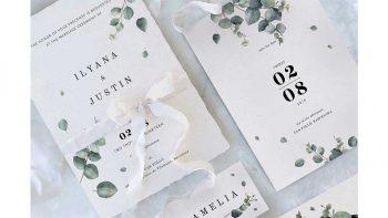 دانلود فایل لایه باز کارت دعوت عروسی Eucalyptus Foliage Wedding Suite