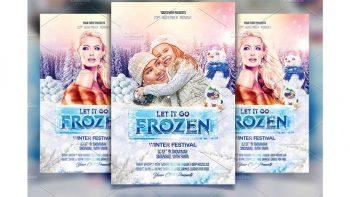دانلود فایل لایه باز بنر Frozen Winter Party Flyer
