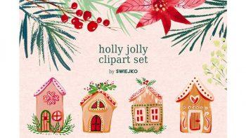 دانلود کلیپ آرت کریسمس Gouache Christmas clipart set
