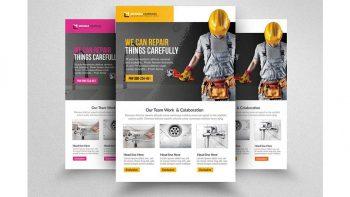 دانلود فایل لایه باز تراکت تاسیسات و لوله کشی Handyman & Plumber Services Flyer