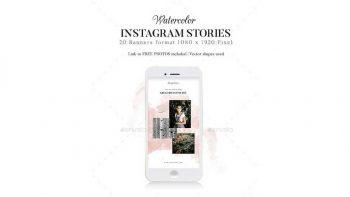 دانلود فایل لایه باز استوری اینستاگرام با طرح آبرنگی Instagram Stories Watercolor/Brush