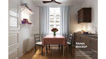 دانلود موکاپ پرده آشپزخانه Kitchen Curtain Mock-up
