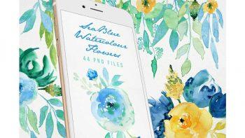 دانلود کلیپ آرت گل های آبی Sea Blue Flowers