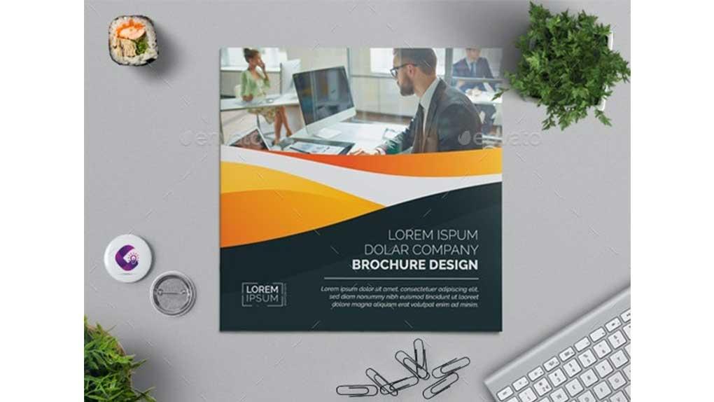 وکتور بروشور Square Bi-fold Brochure 2