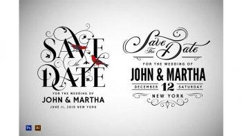 دانلود فایل لایه باز کارت دعوت Vintage Save The Date Designs