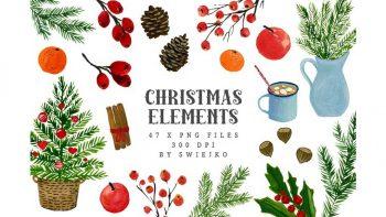 دانلود کلیپ آرت کریسمس با طرح آبرنگی Watercolor Christmas Clipart