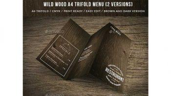 دانلود فایل لایه باز سه لت منوی غذا Wild Wood A4 TriFold Menu