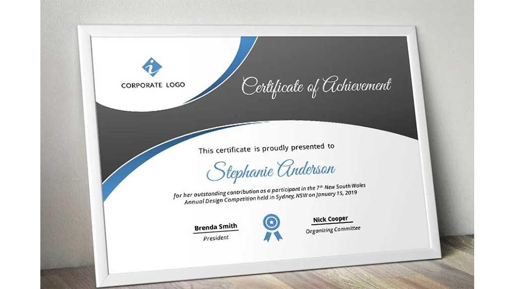 قالب پاورپوینت Curve Bar Modern Certificate