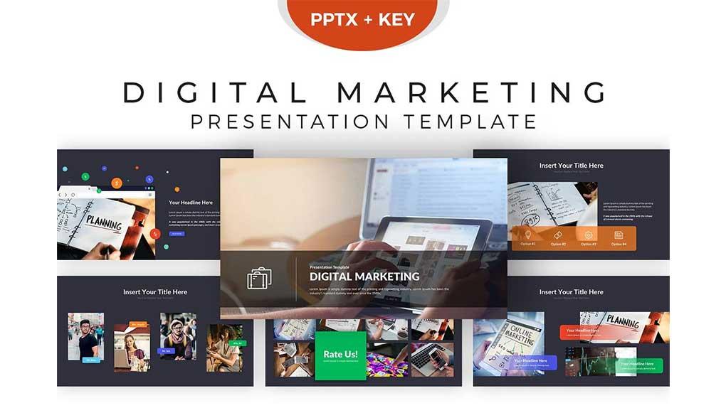 قالب پاورپوینت و کینوت بازاریابی الکترونیک Digital Marketing Presentation