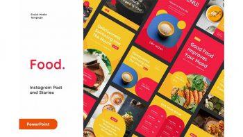 دانلود قالب پاورپوینت اینستاگرام با موضوع غذا Food Instagram Post And Stories Powerpoint