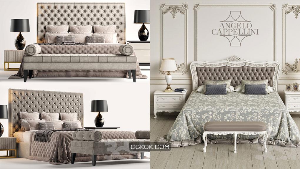 مدل سه بعدی تخت خواب کلاسیک