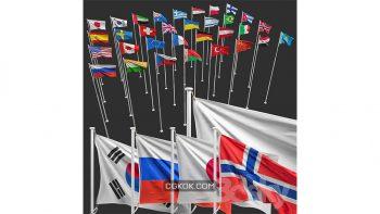 دانلود مدل سه بعدی پرچم