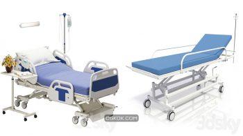دانلود مدل سه بعدی تخت بیمارستان