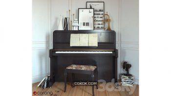 دانلود مدل سه بعدی پیانو
