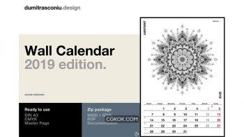 دانلود قالب ایندیزاین تقویم دیواری A3 Wall Calendar – 2019 edition