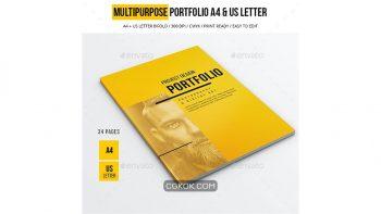 دانلود فایل لایه باز مجله و بروشور نمونه کار A4 and US LEtter Multipurpose Portfolio