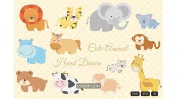 دانلود وکتور حیوانات Animal Hand Drawn