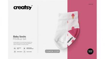دانلود موکاپ جوراب نوزاد Baby Socks Mockup Set