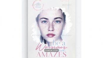 دانلود فایل لایه باز تراکت سالن زیبایی Be A Woman That Amazes Flyer Template