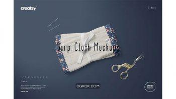 دانلود موکاپ حوله نوزاد Burp Cloth Mockup Set