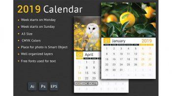 دانلود فایل لایه باز تقویم Calendar 2019