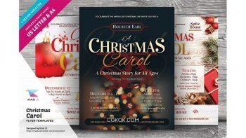 دانلود فایل لایه باز تراکت کریسمس Christmas Carol Flyer Templates