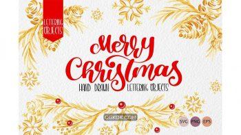 دانلود وکتور کریسمس Christmas Draw Lettering Objects