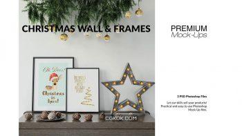 دانلود موکاپ قاب عکس و دیوار با تم کریسمس Christmas Frames & Wall Set