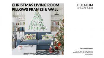 دانلود موکاپ اتاق نشیمن با درخت کریسمس Christmas Living Room Set