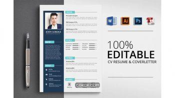 دانلود فایل لایه باز رزومه Clean CV Resume Word Template