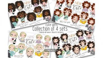 دانلود کلیپ آرت دخترانه Collection of 4 Sets Girls