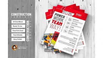 دانلود وکتور تراکت خدمات ساخت و ساز Construction Flyer Template