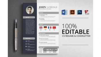 دانلود فایل لایه باز رزومه Creative CV Resume Word Design