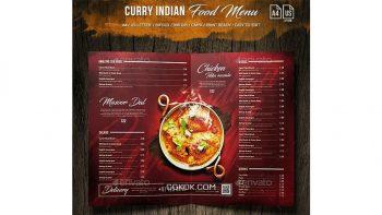 دانلود فایل لایه باز 3 لت منو غذای هندی Curry Indian Food Menu