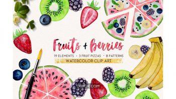 دانلود کلیپ آرت آبرنگی میوه FRUITS BERRIES watercolor set