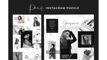 دانلود فایل لایه باز پست پازلی اینستاگرام Instagram Puzzle – Pearl