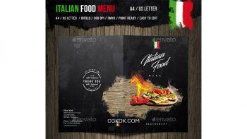دانلود فایل لایه باز 2 لت منو غذای ایتالیایی Italian Food Menu