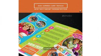 دانلود فایل لایه باز بروشور کمپ تابستانی کودکان Kids Summer Camp Trifold