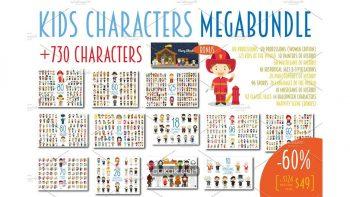 دانلود وکتور کاراکتر های کارتونی MEGABUNDLE Kids Characters Sets